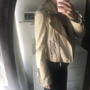 Cream Colored Genuine Leather Jacket
